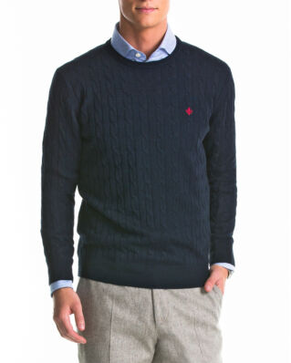 Morris Merino cable oneck navy knit