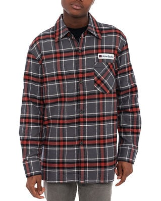 Acne Studios Salak Flannel PC Face Grey/Red