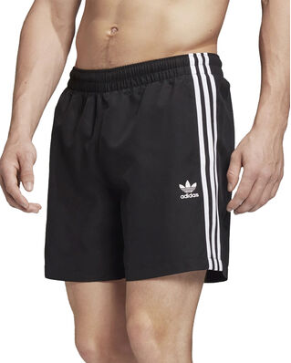 Adidas 3 Stripe Swims Black
