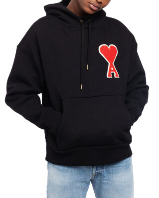 AMI J038 Hoodie With Big Ami Coeur Patch Black
