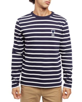 AMI J106 Striped T-shirt With Big Ami De Coeur Patch Off White/Navy