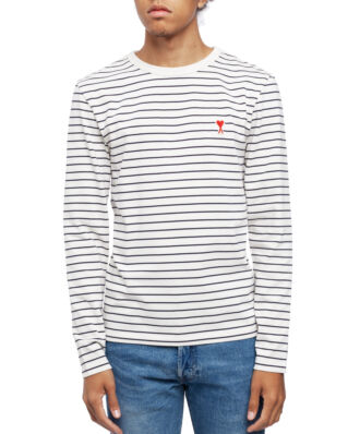 AMI J106 T-shirt With Ami De Coeur Patch Off White/Navy