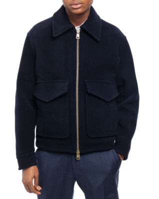 AMI OW035 Patch Pockets Zipped Jacket Navy