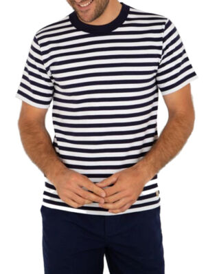Armor Lux Striped Crew Neck Boxy Tee Shirt Striped Navy/White