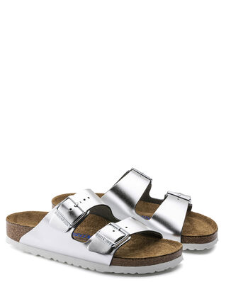 Birkenstock Arizona Soft Footbed Metallic Silver