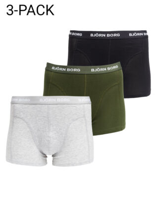 Björn Borg 3-Pack Short Shorts Grey Melange/Dark Green/Black