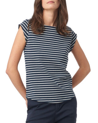 Boomerang Frejus Striped Piqué Top Midnight Blue