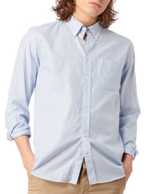 Boomerang Nils Org. Cotton Stripe Oxford T.A. Fit B.D. Shirt Ice Blue