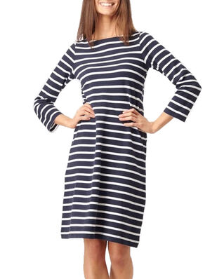 Boomerang Blenda Pique Stripe Dress Midnight Blue