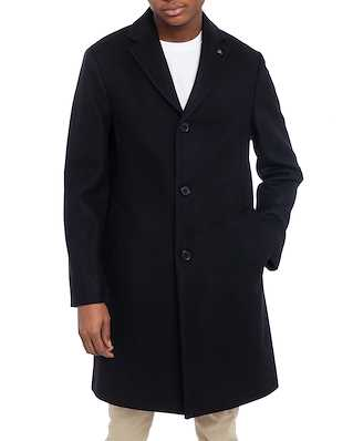 Calvin Klein  Cashmere Wool Crombie Coat Calvin Black