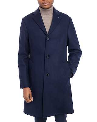 Calvin Klein  Cashmere Wool Crombie Coat Calvin Navy