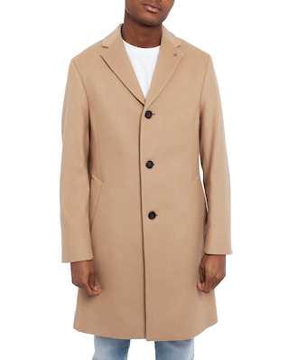 Calvin Klein  Cashmere Wool Crombie Coat Camel