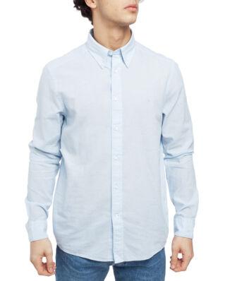 Calvin Klein  Cotton Linen Poplin Shirt Cerulean
