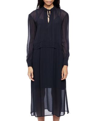 Calvin Klein  Georgette Pioneer Dress Ls Calvin Navy