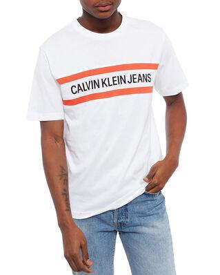 Calvin Klein Jeans Chest Stripe Instit Bright White/White/Coral