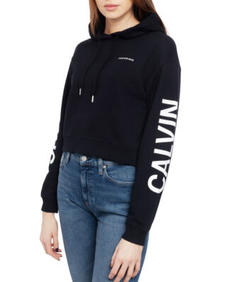 Calvin Klein Jeans Cropped Institutional Hoodie Ck Black