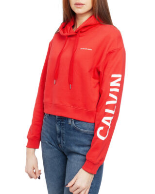 Calvin Klein Jeans Cropped Institutional Hoodie Racing Red