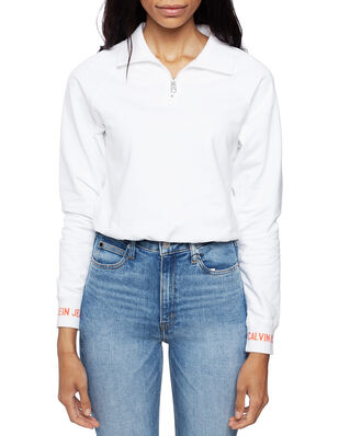 Calvin Klein Jeans Logo Tape Cropped Half Zip Bright White/Coral