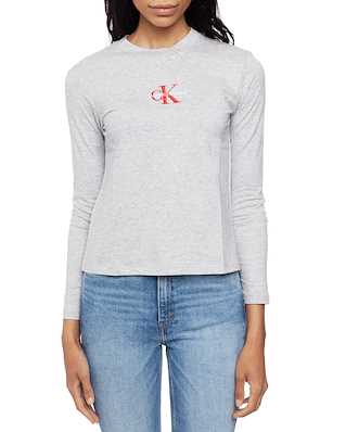 Calvin Klein Jeans Monogram Embroidery Light Grey Heather