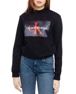 Calvin Klein Jeans Monogram Satin Box Mock Neck Ck Black