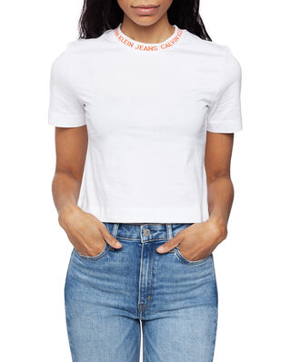 Calvin Klein Jeans Neck Logo Modern Stripe Bright White/Hot Coral