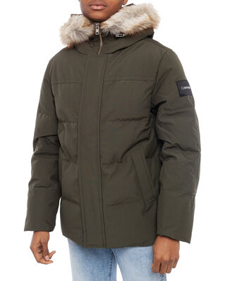 Calvin Klein  Mid Length Premium Down Jacket Dark Olive
