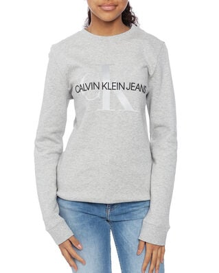 Calvin Klein  Junior Monogram Crew Sweatshirt Light Grey Heather