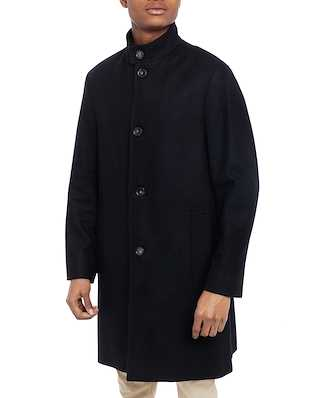 Calvin Klein  Wool Cashmere Blend Funnel Coat Calvin Black