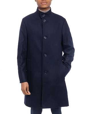 Calvin Klein  Wool Cashmere Blend Funnel Coat Calvin Navy