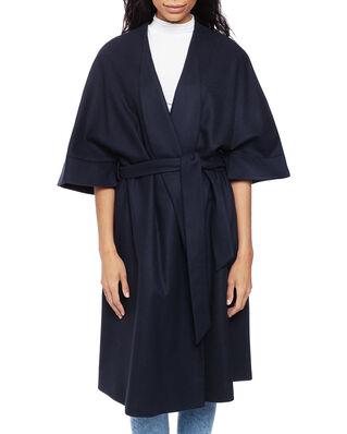Calvin Klein  Wool Cashmere Wrap Coat Calvin Navy