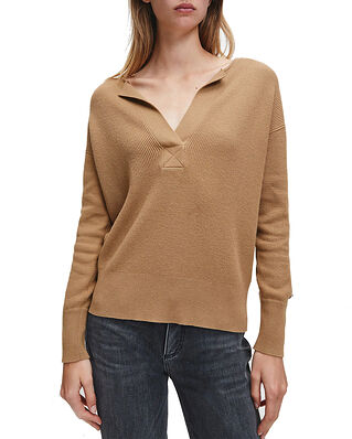 Calvin Klein  Ls Open Neck Sweater Macaroon