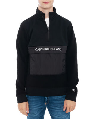 Calvin Klein Jeans Junior Fleece Zip Mock Sweatshirt Ck Black