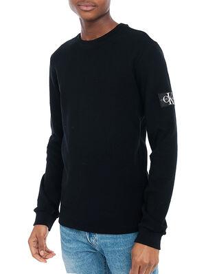 Calvin Klein Jeans Monogram Badge Waffle Ls Tee CK Black