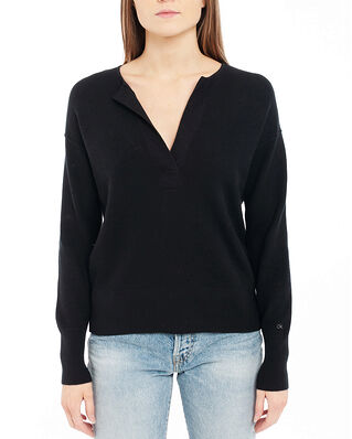 Calvin Klein  Ls Open Neck Sweater Ck Black