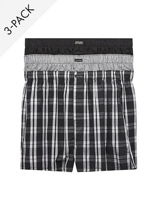 Calvin Klein Underwear Boxer Wvn 3Pk Blk/Morgan Plaid /Montague Stripe