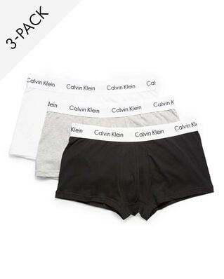Calvin Klein Underwear Cotton Stretch 3-Pack Low Rise Trunk Black/White/Grey