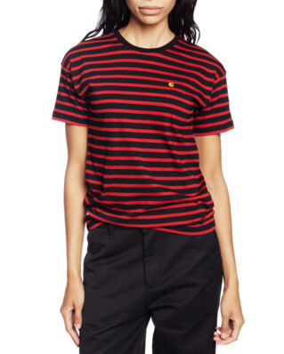 Carhartt WIP W' S/S Robie T-Shirt Robie Stripe, Black/Blast Red/Quince