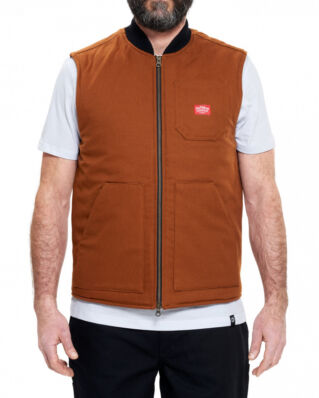 DePalma Workwear Factory canvas vest tobacco