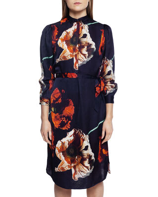 Diana Orving Puff Sleeve Dress Blue Print
