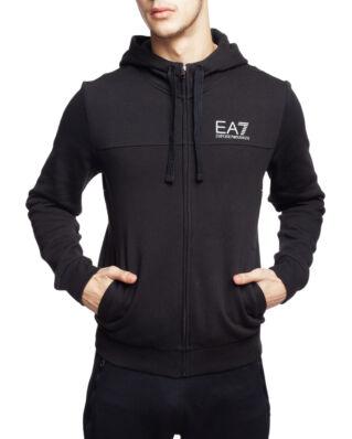 EA7 Cotton Zip Hoodie Print Black