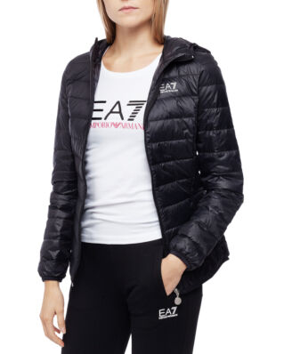 EA7 Train core lady W Lt down jacket Hoodie black TN12Z-8NTB14