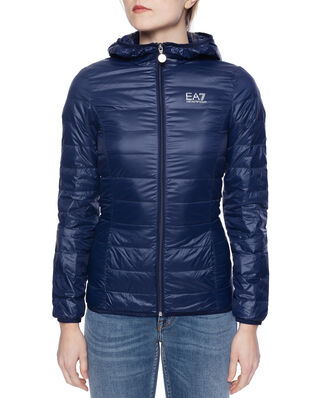 EA7 Train core lady W Lt down jacket Hoodie navy blue TN12Z-8NTB14