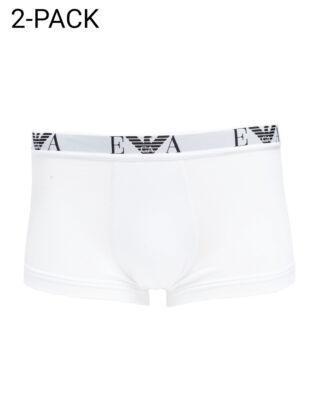Emporio Armani Mens Knit 2-Pack Boxer Bianco/Bianco