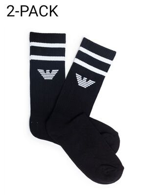 Emporio Armani Men's Knit Short Socks 2-pack Black