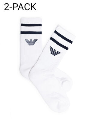 Emporio Armani Men's Knit Short Socks 2-pack White