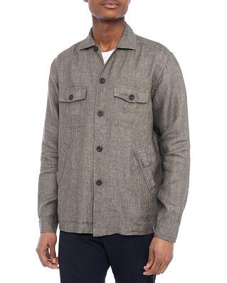 Eton Khaki Linen Twill Overshirt Green