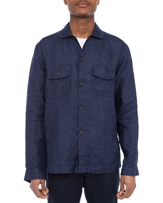 Eton Navy Linen Twill Overshirt Black