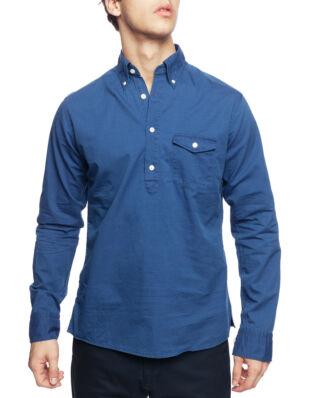 Eton Blue Twill Popover Shirt Dark Blue