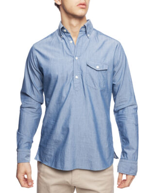 Eton Blue Twill Popover Shirt Light Blue