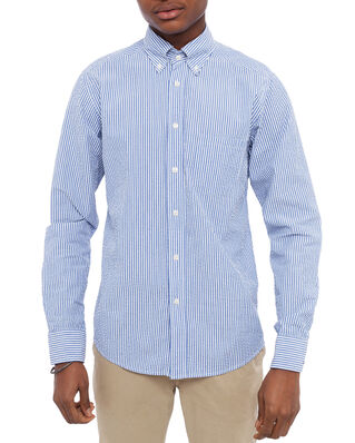Eton Color Striped Poplin Shirt Blue